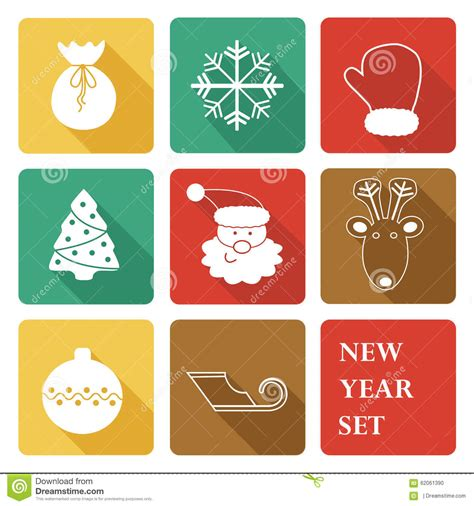 new year icon set greeting new year icon set stock vector image 62061390
