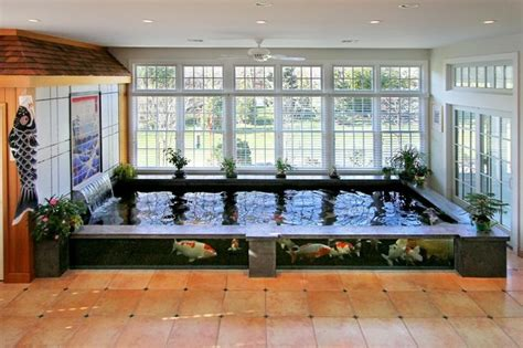how to make an indoor fish pond indoor koi pond asian sunroom new york by barlo