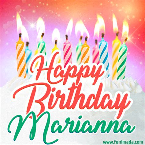 happy birthday gif  marianna  birthday cake  lit candles   funimadacom