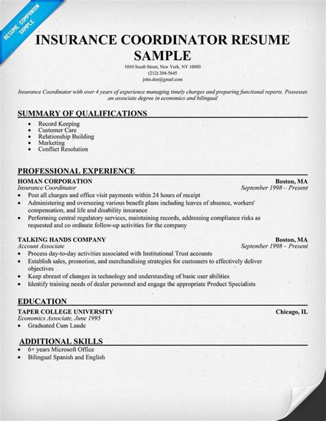 Insurance Coordinator Resume Insurance Coordinator Sle Resumecompanion This