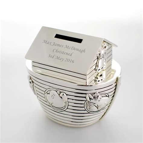 7 Beautiful Christening Gifts by Personalised Noahs Ark Money Box Engraved Christening Gift