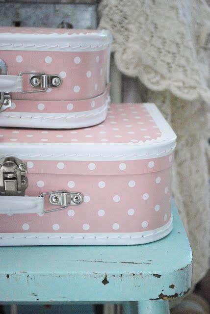 Lunch Box Polkadot Pastel Shabby pink polka dot suit cases pastel