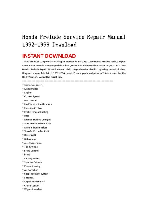 honda prelude service repair manual 1992 1996 download by hsgfbenn issuu