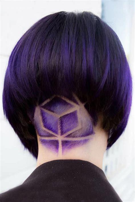colored undercut hair color 2017 2018 purple colored geometric undercut