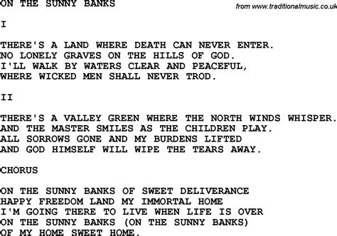 banks lyrics country southern and bluegrass gospel song on the
