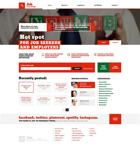 templates for job website job portal responsive website template 47127