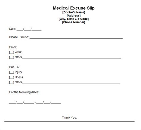 free doctor note template for work doctor excuse template 9 free word excel pdf format