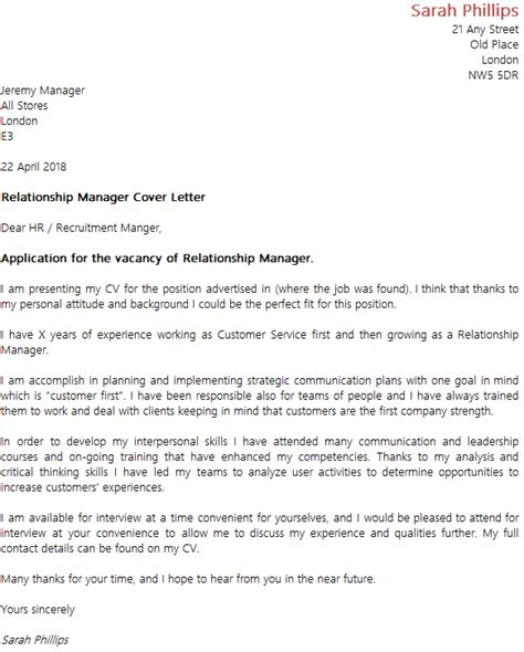 relationship manager cover letters – 50+ Best templates