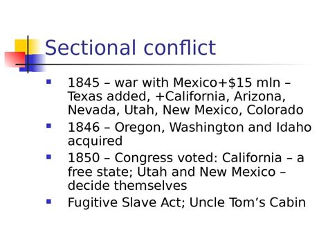 sectional conflict history of the united states of america
