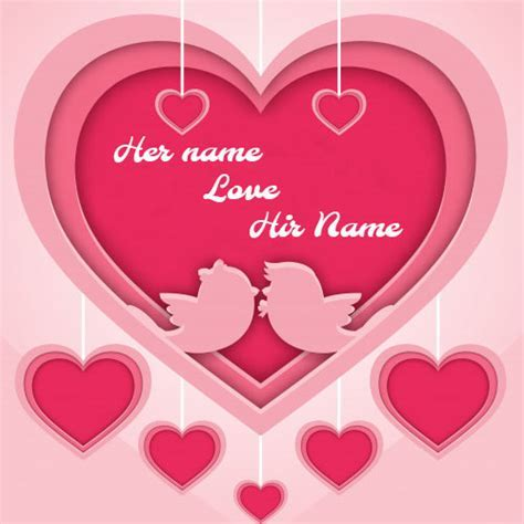 beautiful pink romantic heart love card with name