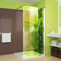 wand dusche wandtattoos folies glasdekor dusche bambus