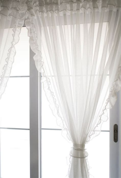 sheer ruffled curtains voile ruffle curtain