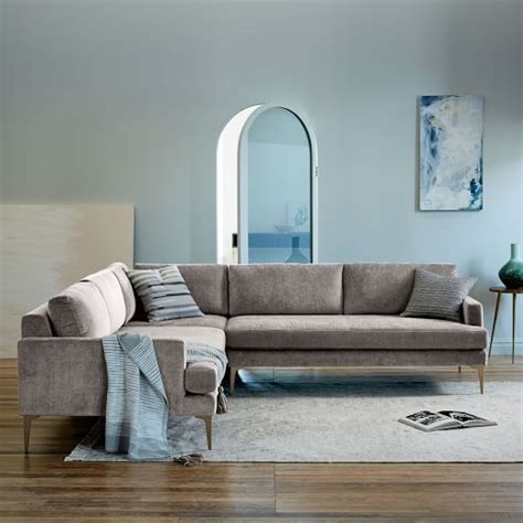 west elm andes sofa andes l shaped sectional west elm