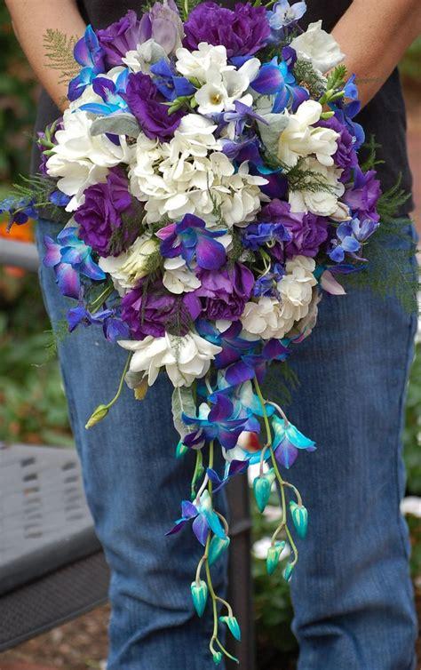 bridal bouquet  white hydrangea white freesia dark