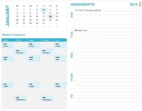 Student Calendar Template Excel Student Schedule Template Help