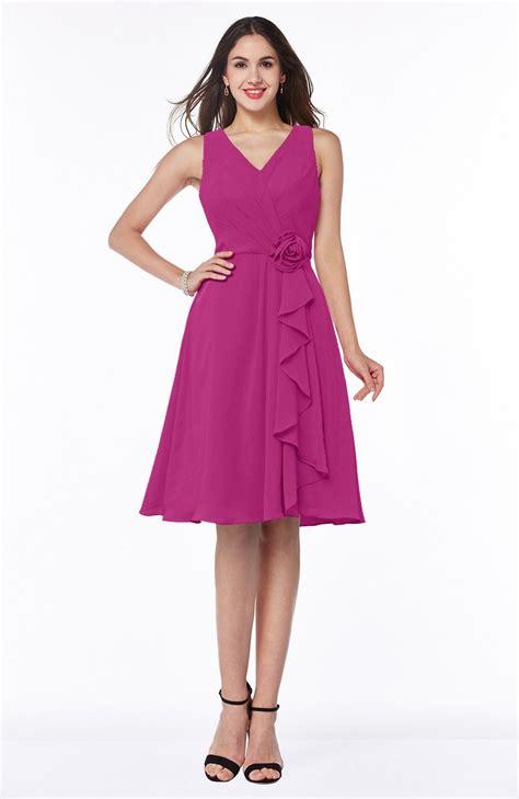 casual wedding dress pink hot pink bridesmaid dress casual a line v neck zip up