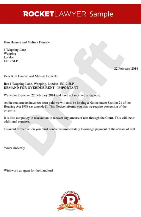 Rent Arrears Letter Uk Rent Demand Letter Create A Rent Arrears Letter