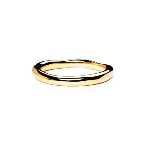 18ct yellow gold thin wedding wave band