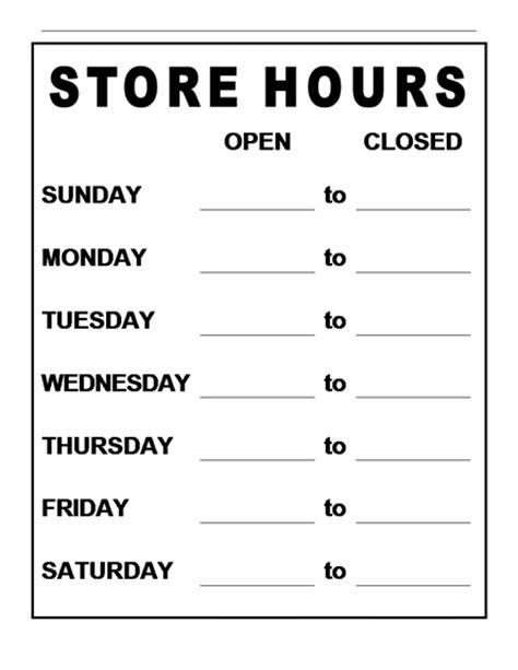business hours sign template search results for free hours sign template