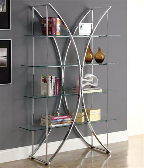 chrome metal 72 quot h etagere with tempered glass shelves