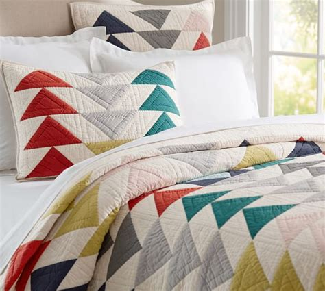 Triangle Patchwork Quilt - mitsy triangle patchwork quilt sham pottery barn