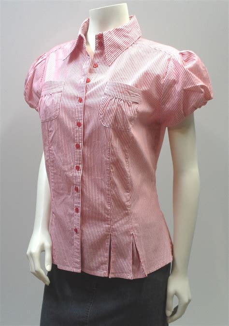 Ayura Puff Atasan Top Blouse pinstripe blouse and white puff sleeve fitted blouse tops blouses
