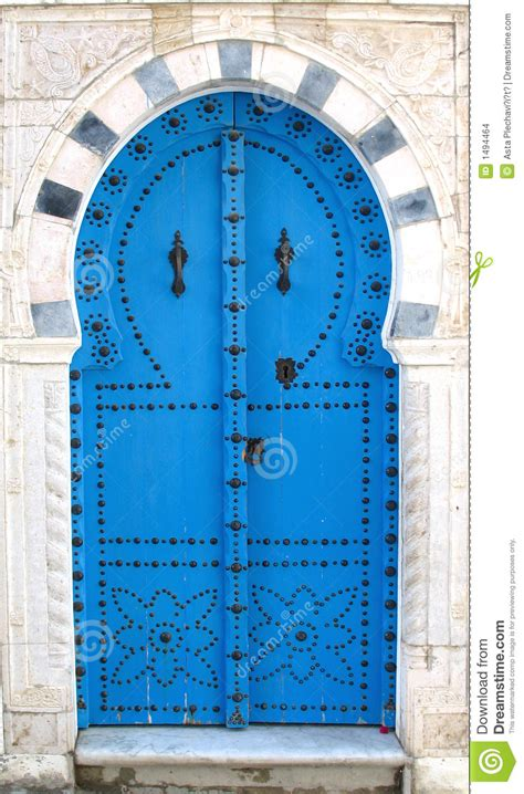 blue tunisian doors stock images image