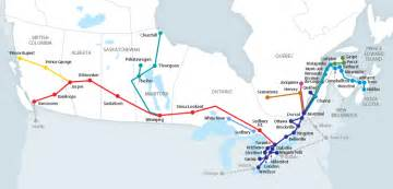 rail map canada routes by region via rail