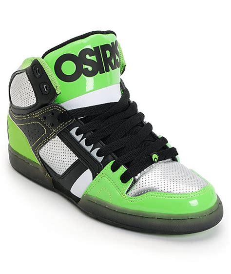 osiris high top shoes for osiris nyc 83 black gunmetal lime high top skate shoes