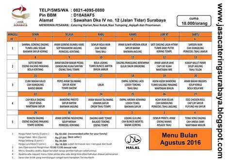 Daftar Murah jasa catering surabaya daftar menu catering harian surabaya