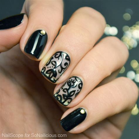 lace pattern on nails black lace nail art tutorial