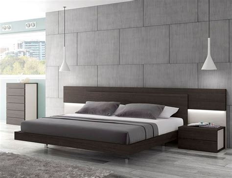 Lacquered Graceful Wood Luxury Platform Bed Indianapolis Modern Furniture Beds