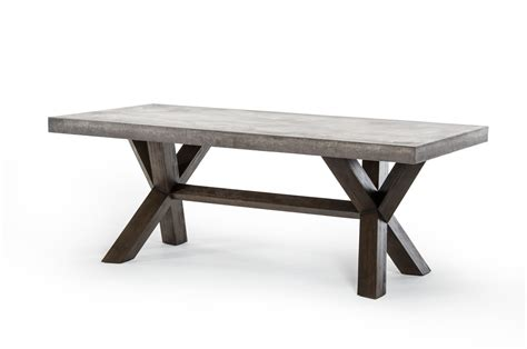 concrete and wood dining table rectangular concrete and acacia base dining table houston