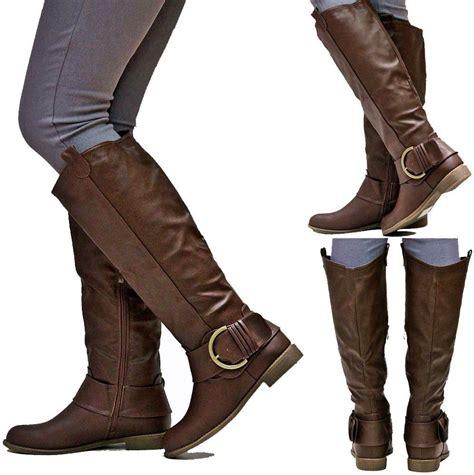 new womens ej2 brown buckle cowboy western knee high