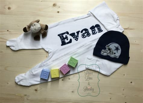 personalized baby sleeper dallas cowboys baby footed