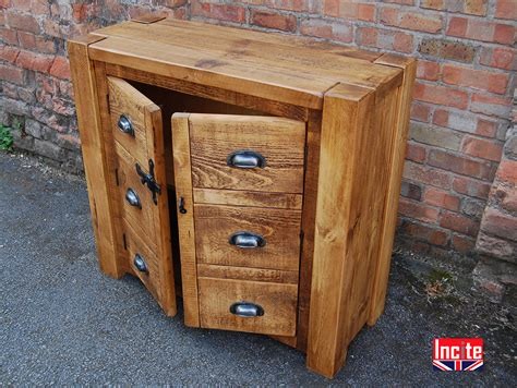 Handcrafted Pine Furniture - rustic chunky plank cupboard with 2 dummy drawer by incite