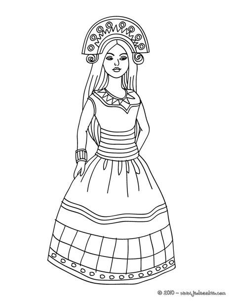 indian princess coloring page coloriages coloriage princesse inca fr hellokids com