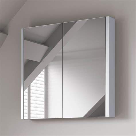 600mm Gloss White Double Door Mirror Cabinet White Gloss Bathroom Mirror