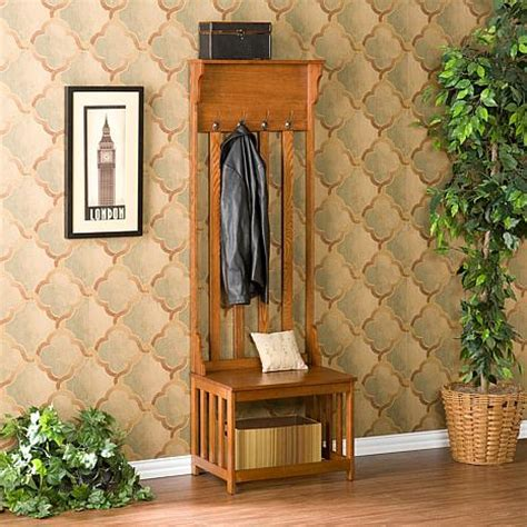 mission oak hall tree entry bench hall tree entry bench 6408529 hsn