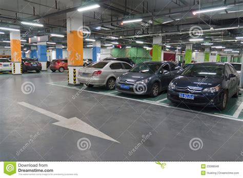 Underground parking garage editorial stock photo. Image of