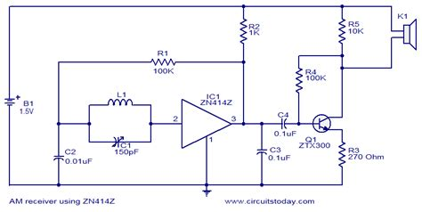 single transistor fm transmitter circuit diagram gt circuits gt am receiver using zn414 l36988 next gr