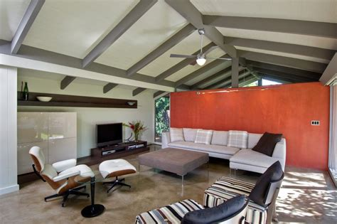 Black Shaded Chandelier Painted Beam Ceiling Family Room Modern With Orange Accent
