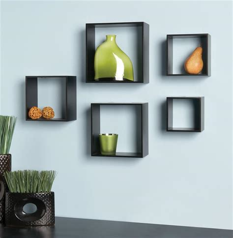 5 cube set black modern shelves shelf wall accent new