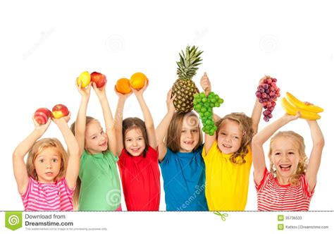 children s happy children with fruits stock image image of friends 35736533