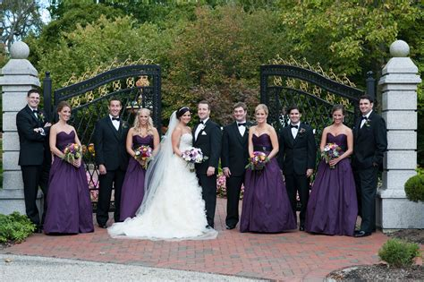 black and plum wedding party