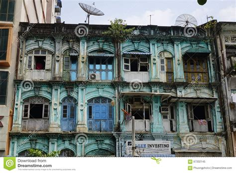 colonial architecture in yangon myanmar editorial image