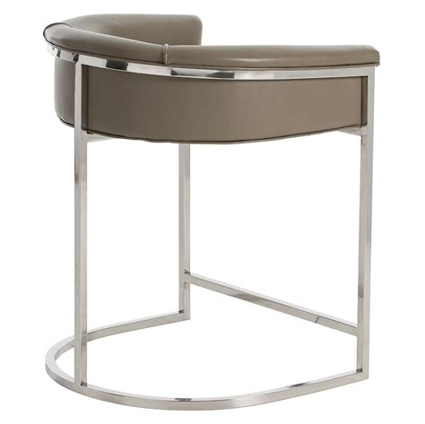 Grey Leather Bar Stools by Calvin Modern Grey Leather Low Silver Counter Stool