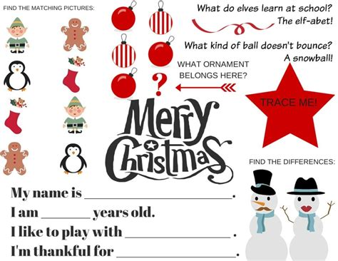 printable christmas table games free christmas printables activity placemat fill in the