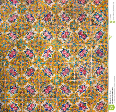 floral pattern history historical tiles on the old house walls with patterns and