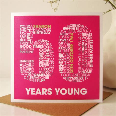 50th Birthday Cards Personalised 50th Birthday Card By Mrs L Cards